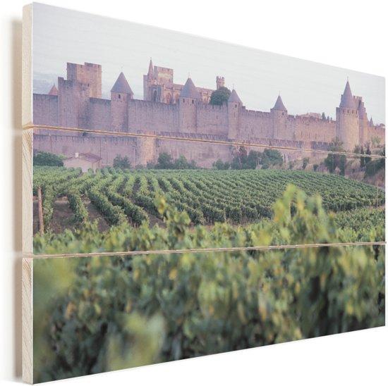 Wijngaard voor het kasteel Château Comtal in Zuid-Frankrijk Vurenhout met planken 60x40 cm - Foto print op Hout (Wanddecoratie)