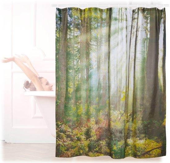 relaxdays douchegordijn bos 180 x 180 cm badkuipgordijn anti schimmel badkamer gordijn
