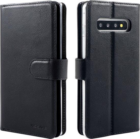 Xssive Double Wallet Case voor Samsung Galaxy S10e - geschikt voor 6 pasjes - Zwart