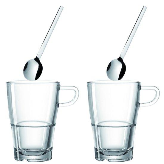 Leonardo Senso Latte Macchiato Glazenset - 4-Delig - 2 Glazen & 2 Lepeltjes