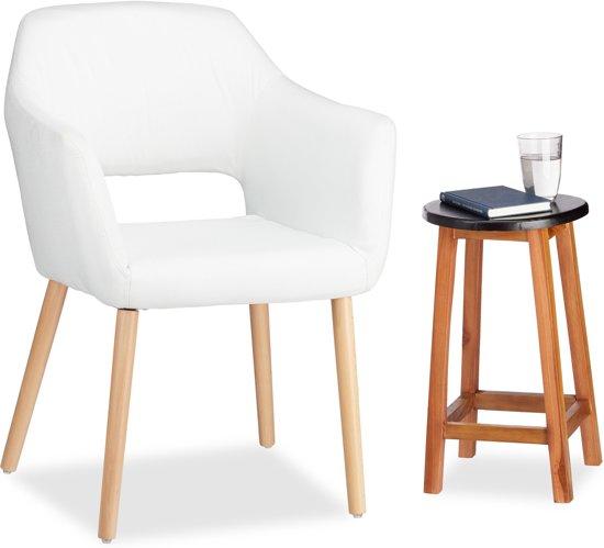 Moderne Fauteuil Wit.Relaxdays Fauteuil Design Zetel Eetkamerstoel Stof Relaxstoel Loungestoel Modern Wit