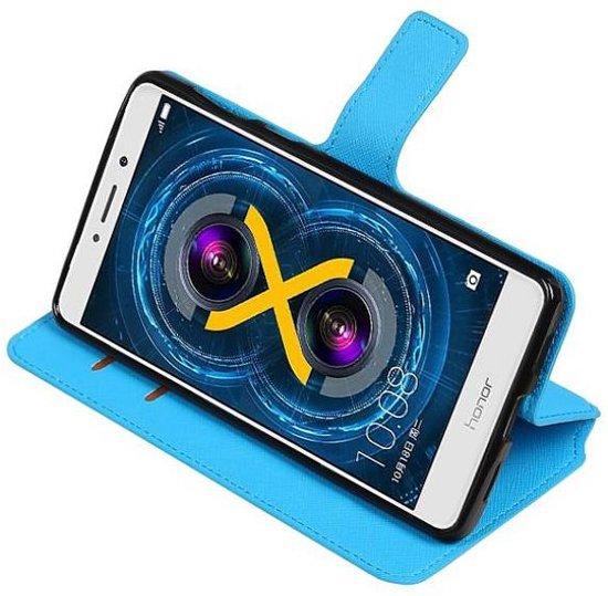Mobieletelefoonhoesje.nl - Huawei Honor 6X Hoesje Cross Pattern TPU Bookstyle Blauw in Schorisse