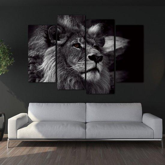 Leeuw Canvas Vierdelig - Vierluik - Zwart Wit - 120 x 80 - Zonder Frame