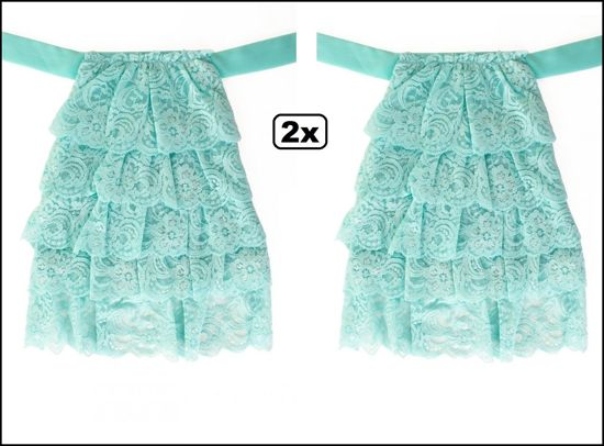 2x Luxe Jabot kant turquoise.