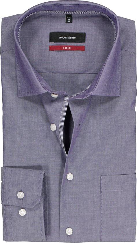 Seidensticker regular fit overhemd lila, maat 44