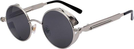 ffb472b345050e Steampunk ronde zonnebril zwart vintage - ronde glazen - zilver montuur  festival