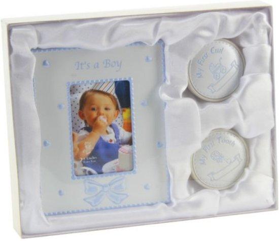 Juliana Collection-baby-jongens-cadeauset-fototlijstje-tandendoosje-haardoosje-kleur: baby blauw