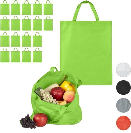 relaxdays 20 x boodschappentas - stoffen tas - effen gekleurd opvouwbaar - 50x40 - groen