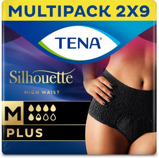 TENA Silhouette Plus - High Waist - Noir - Medium - 18 stuks - voor urineverlies (incontinentie)