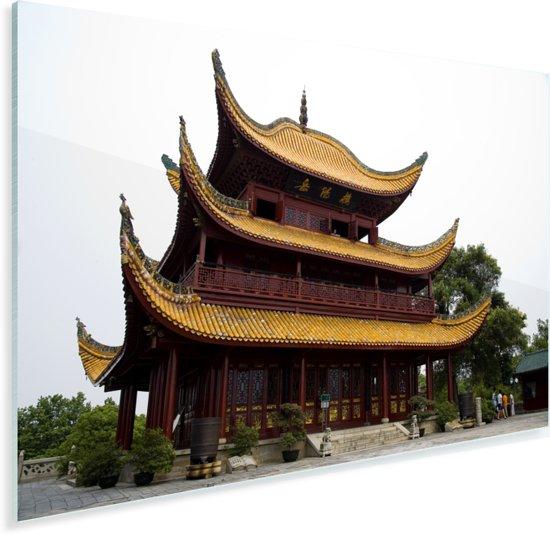 Gouden gevels van de Yueyang toren in het Chinese Yueyang Plexiglas 30x20 cm - klein - Foto print op Glas (Plexiglas wanddecoratie)