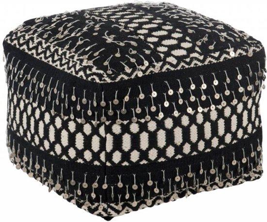 Duverger Ethnic - Poef - vierkant - zwart / wit - katoen - linnen - polyester