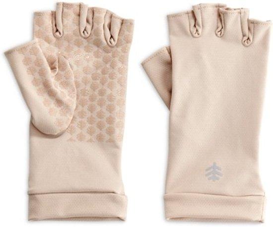 Coolibar UV handschoenen vingerloos Unisex - Beige - Maat XS