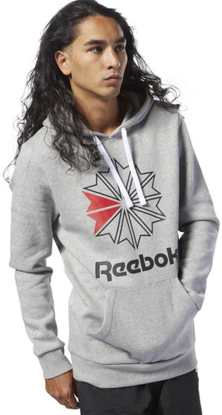 fe3080eb Reebok Classic Big Logo Hoodie Sweater Heren - Medium Grey Heather/Black -  Maat M