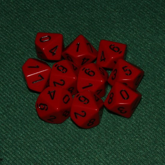 Afbeelding van het spel 10 Vlakken Tienzijdige Dobbelstenen Rood met Zwart 16mm Set van 6 Stuks