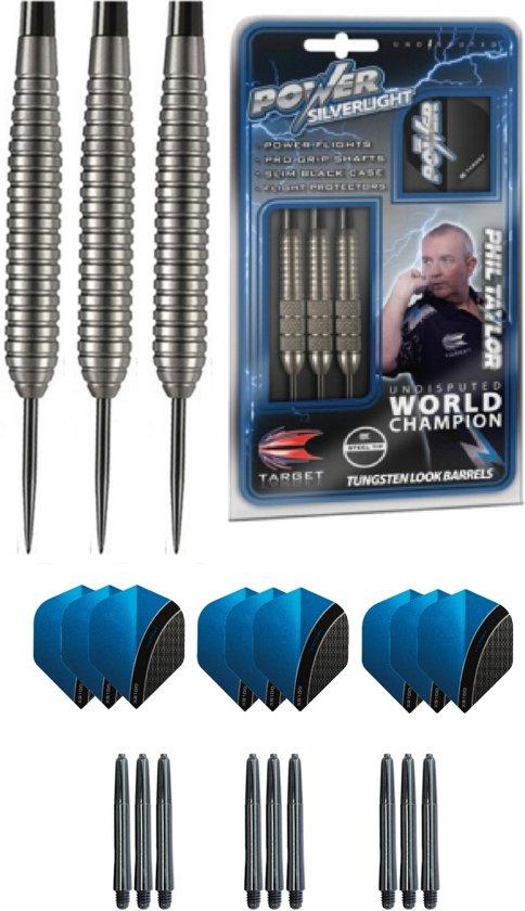 Phil Taylor Power SilverLight - Dartpijl - 24 gram plus cadeauset - dartflight - dartshaft
