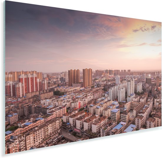 Luchtfoto met een kleurrijke zonsondergang in Fuzhou in China Plexiglas 30x20 cm - klein - Foto print op Glas (Plexiglas wanddecoratie)