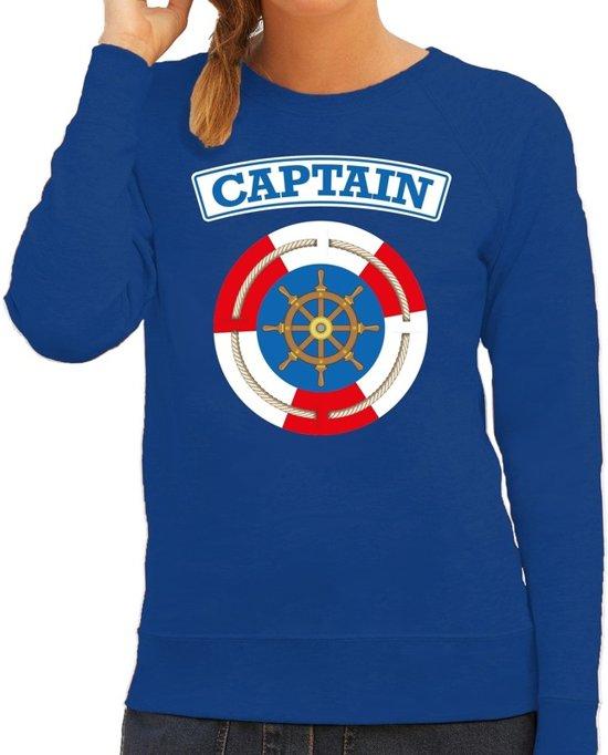 Kapitein/captain verkleed sweater blauw voor dames - maritiem carnaval / feest trui kleding / kostuum 2XL