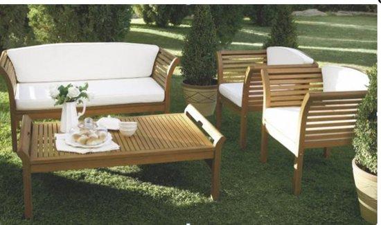 "bol | lounge set, tuinset, eucalyptus hout, ""malaga""inclusief"