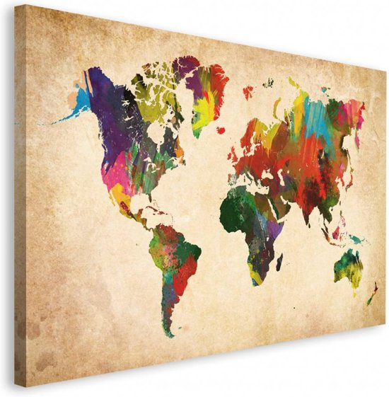 Deco block wereldkaart in kleur - Deco muurdecoratie ...