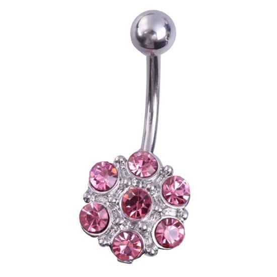 Fako Bijoux® - Navelpiercing - Bloem - Roze