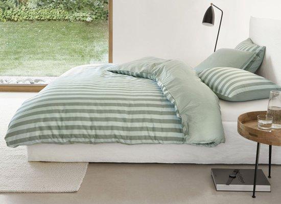 Marc O'Polo dekbedovertrek Classic Stripe soft olive - extra kussensloop (60x70 cm)