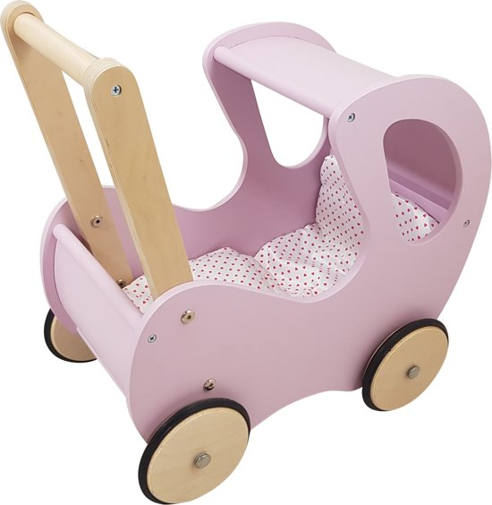 Playwood - Houten Poppenwagen lilaroze klassiek met kap - inclusief dekje wit met roze hartjes