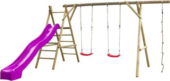 Swing King speeltoestel hout met glijbaan Noortje 450cm - violet