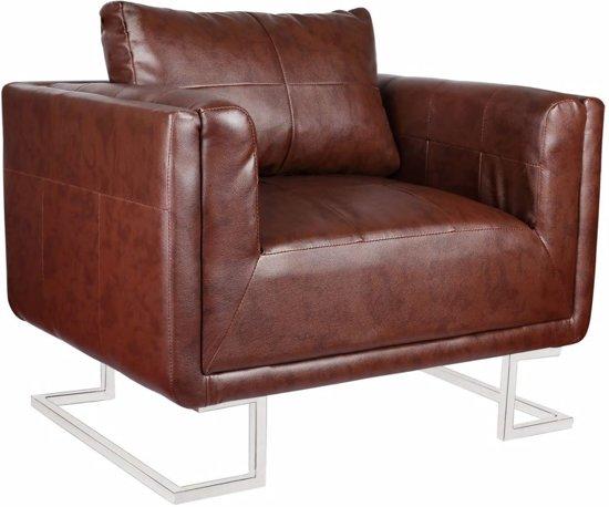 Bruine Leren Stoel : Bol.com vidaxl kubus fauteuil met arm bruin
