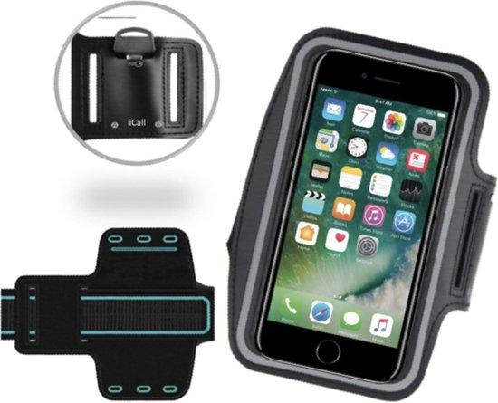 Sportarmband / Hardloop Universeel Spatwaterdicht Hoesje – Zwart Sportband – voor Apple iPhone 8 / 7 / 6/6s / 5/5C/5SE en Samsung Galaxy J1 (2016) - Hardloop 4.7 inch Sport Armband Met Sleutelhouder (Samsung, Huawei, LG, HTC, Sony)