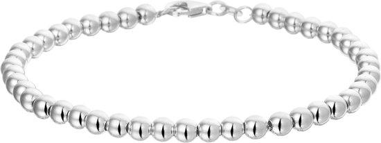 The Jewelry Collection Armband Bolletjes 4,0 mm 19 cm - Zilver Gerhodineerd