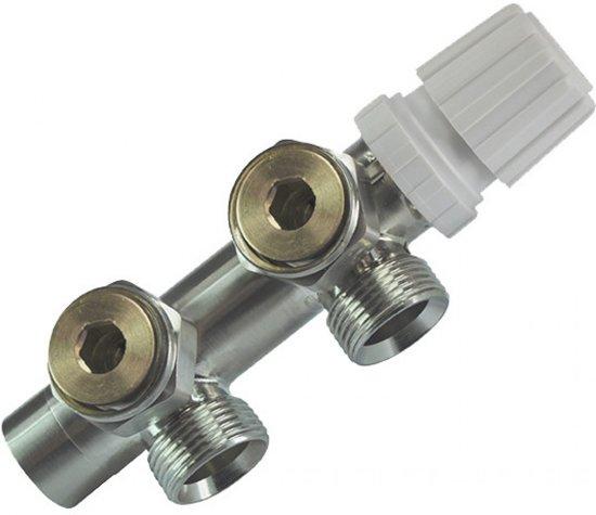 """Sanifun thermostatisch 3/4"""" onderblok haaks-links geborsteld staal"""