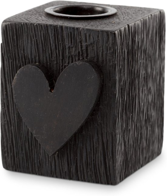 Vtwonen Candle Block Heart Wood Black 5x5x6cm