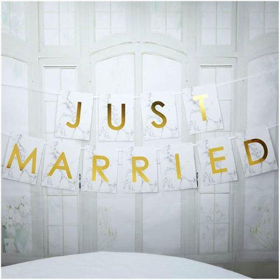 Neviti Scripted Marble - 'Just Married' huwelijk slinger - wit/goud - 2,50 meter Valentinaa