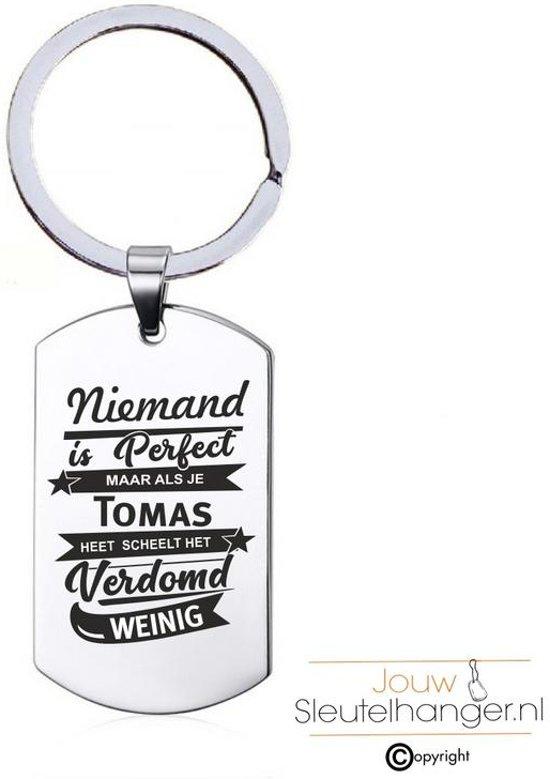 Niemand Is Perfect - Tomas - RVS Sleutelhanger
