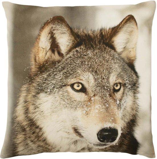 Mars & More - Sierkussen - Canvas - Winter Wolf Sneeuw - 50x50cm