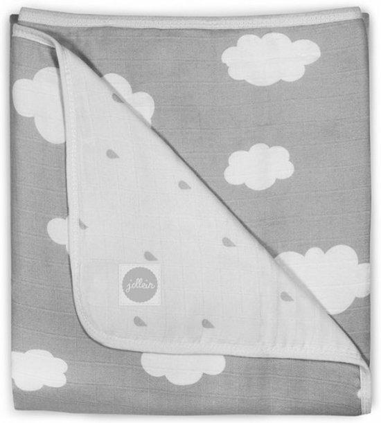Jollein Clouds Hydrofiel - Wiegdeken 75x100 cm - Grijs