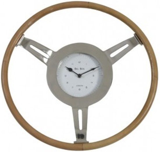 Light & Living Klok STEERING - Nikkel-Leer