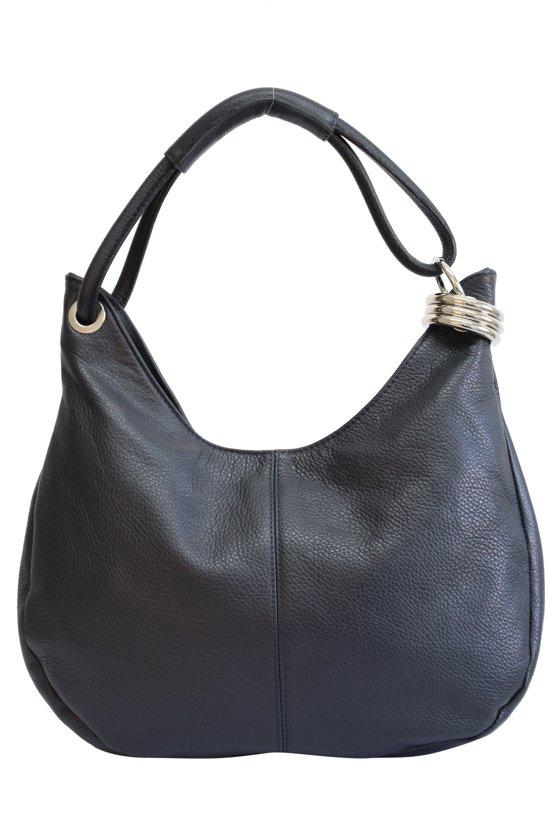 aca110c69e3 AmbraModa dames leren handtas schoudertas draagtas Hobo bag GL03 Donkerblauw