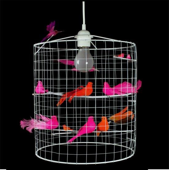 hanglamp met vogeltjes roze oranje wit eetkamer woonkamer slaapkamer