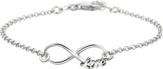 The Fashion Jewelry Collection Armband Infinity En Tekst Love 2,0 mm 17 + 2 cm - Zilver Gerhodineerd