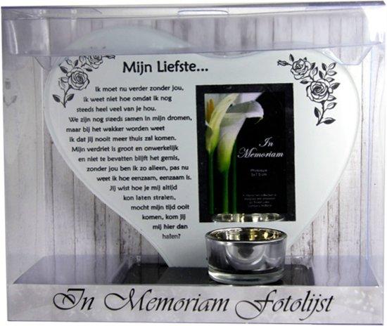 Waxinehouder In Memoriam Overleden Glas Hart Met Gedicht Mijn Liefste