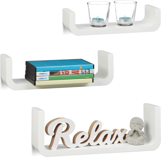 Zwevende Plank 30 Cm Diep.Bol Com Relaxdays Wandplanken 3er Set U Vormige Wandboards