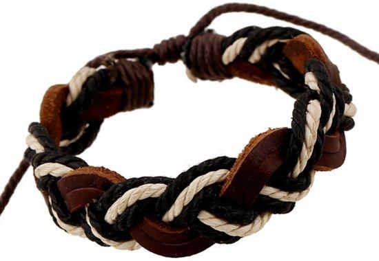 lederen armband zwart/wit