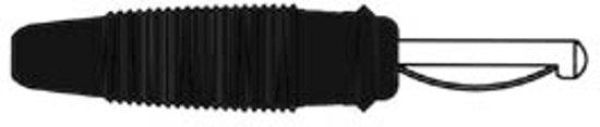 BANAANSTEKKER 4mm MET DWARSGAT EN SOLDEERAANSLUITING / ZWART (VQ 30) (HM1400D)