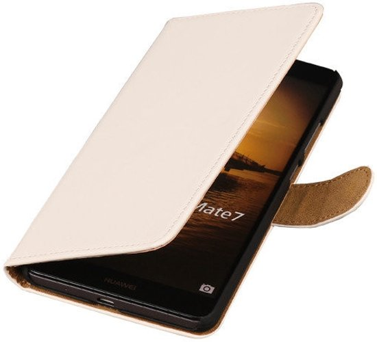Wit Huawei Ascend Mate 7 Book/Wallet Case/Cover in Waret-la-Chaussée