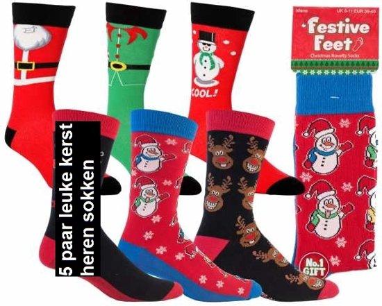 a812e5747a5 set van 5 paar kerst sokken - christmas heren sokken - maat 39- tot 45