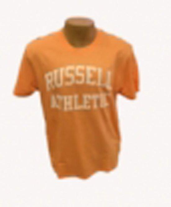 Russell T shirt groot logo zalm/wit