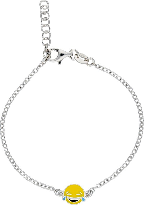 Lilly armband lachende smiley - zilver gerodineerd - anker - traan - 15+2cm