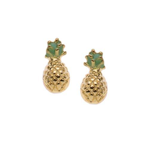 Orelia oorbellen met ananassen - plated - Nickle Free