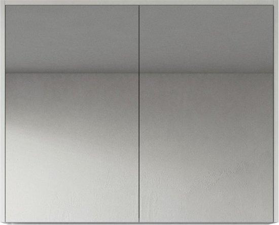 Badplaats Spiegelkast Cuba 900x160x720mm Hoogglans Wit Kast Met Twee Draaideuren